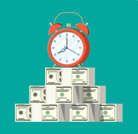 Clock, dollar banknotes. Annual revenue, financial investment, savings, bank deposit, future income, money benefit. Time is money concept. Vector illustration in flat style Illustration