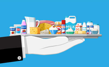Dairy products set in tray. Collection of milk food. Milk, cheese, yogurt, butter, sour cream, cottage, cream. Tradicional farm products. Vector illustration in flat style