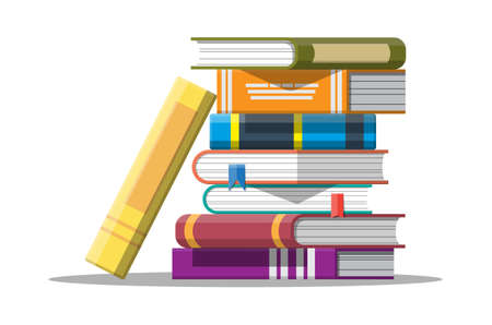 Pile of books in hand. Reading education, e-book, literature, encyclopedia. Vector illustration in flat style