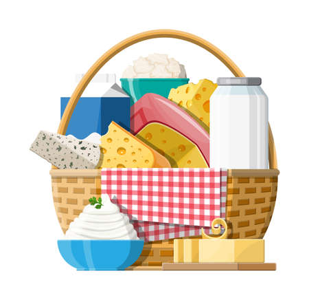 Milk products set in wicker basket with cheese, cottage and butter. Dairy food. Tradicional fresh farm products. Vector illustration in flat style Illustration