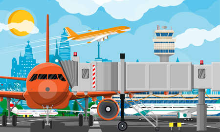 Plane before takeoff Stock Vector - 118858175