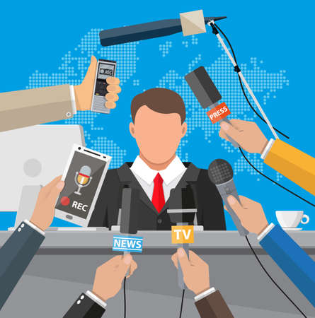 Press conference concept, news, media, journalism.
