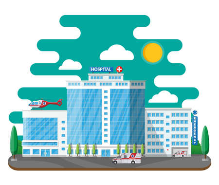 Hospital building, medical icon. Illustration