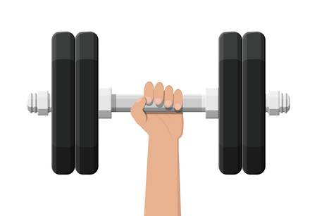 Dumbbell with metal weights. Gym workout equipment, Fitness, healthy and sport lifestyle. Strength and bodybuilding training. Vector illustration flat style