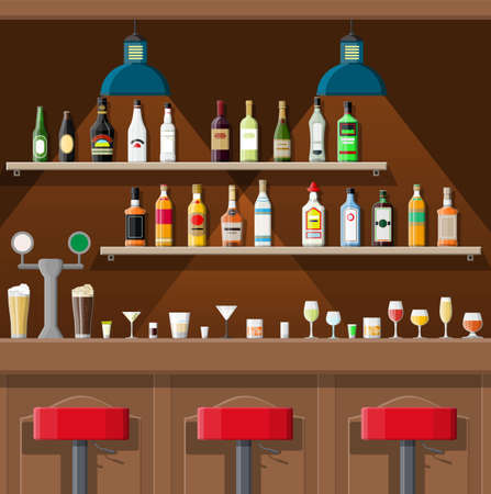 Drinking establishment. Interior of pub, cafe or bar. Bar counter, chairs and shelves with alcohol bottles. Glasses, lamp. Wooden decor. Vector illustration in flat style