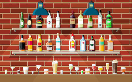 Drinking establishment. Interior of pub, cafe or bar. Bar counter, shelves with alcohol bottles, lamp. Wooden and brick decor. Vector illustration in flat style