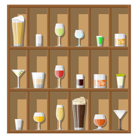Alcohol drinks collection in glasses on shelves. Vodka champagne wine whiskey beer brandy tequila cognac liquor vermouth gin rum absinthe sambuca cider bourbon. Vector illustration in flat style.