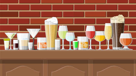 Alcohol drinks collection in glasses in bar. Vodka champagne wine whiskey beer brandy tequila cognac liquor vermouth gin rum absinthe sambuca cider bourbon. Vector illustration in flat style. Imagens - 124943196