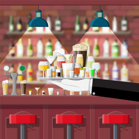Drinking establishment. Interior of pub, cafe or bar. Bar counter, chairs and shelves with alcohol bottles. Glasses, lamp. Wooden decor. Vector illustration in flat style Illustration
