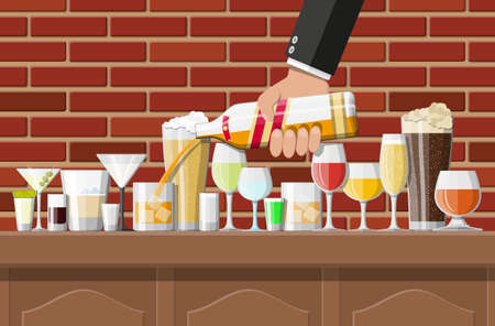 Alcohol drinks collection in glasses in bar. Vodka champagne wine whiskey beer brandy tequila cognac liquor vermouth gin rum absinthe sambuca cider bourbon. Vector illustration in flat style.