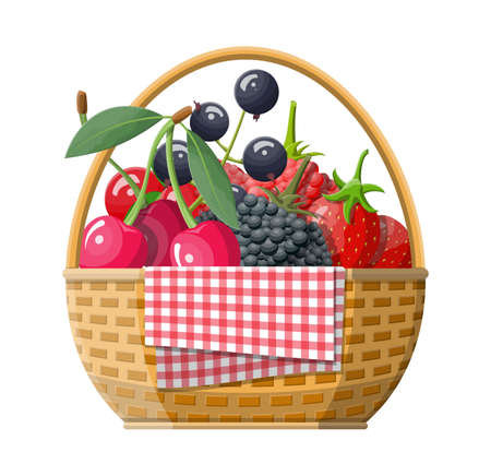 Wicker picnic basket with berries.