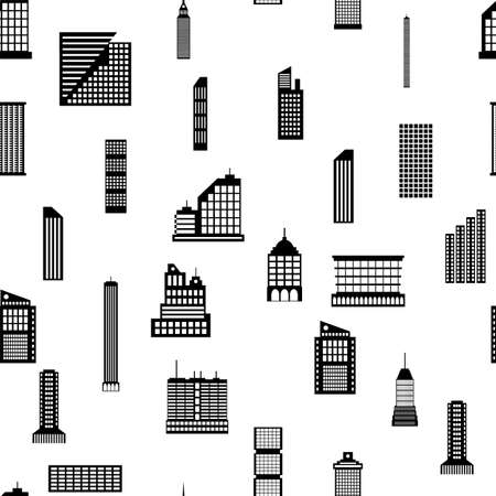 Seamless buildings megapolis pattern. Set of various city buildings. Residential and office, television tower. Vector illustration in flat style Imagens - 124875353