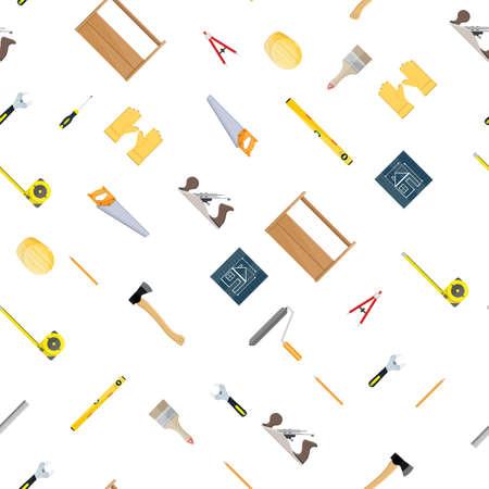 Seamless construction tools set pattern.