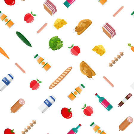 Seamless grocery set pattern. Meat, fish, salad, bread, milk products, orange juice, cucumber, tomato bacon wine chicken and apple. Food shopping. Vector illustration in flat style Reklamní fotografie - 124875354