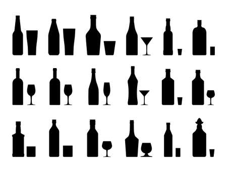 Alcohol drinks collection silhouette