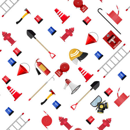 Seamless firefighting set pattern. Fire protection equipment. Shovel, extinguisher, hook, hose, helmet, hydrant, axe and ladder. Vector illustration in flat style Banque d'images - 124838956