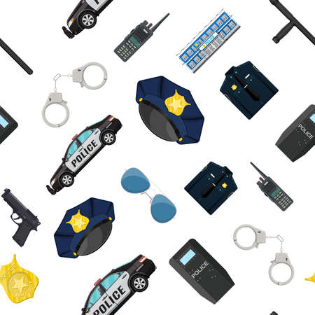 Seamless police equipment set pattern. Handcuffs, riot shield, handgun, truncheon, badge, radio, car and other element. Vector illustration in flat style