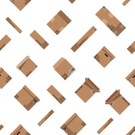 Seamless cardboard boxes set pattern. Illustration