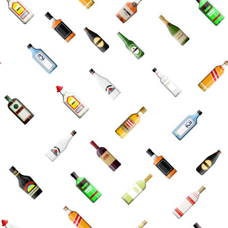 Seamless alcohol glass bottles collection pattern. Vodka champagne wine whiskey beer brandy tequila cognac liquor vermouth gin rum absinthe sambuca cider bourbon. Vector illustration in flat style.