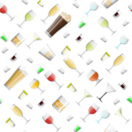 Alcohol drinks collection in glasses seamless pattern. Vodka champagne wine whiskey beer brandy tequila cognac liquor vermouth gin rum absinthe sambuca cider bourbon. Vector illustration in flat style
