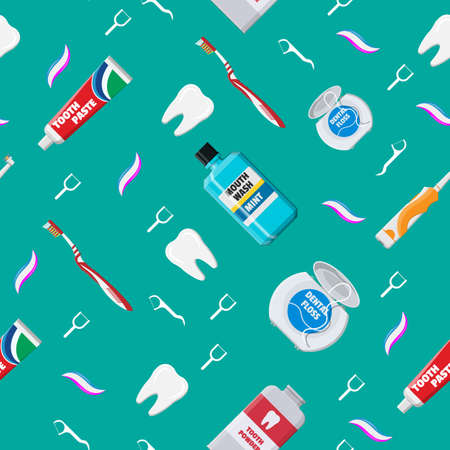 Dental cleaning tools seamless pattern. Illustration