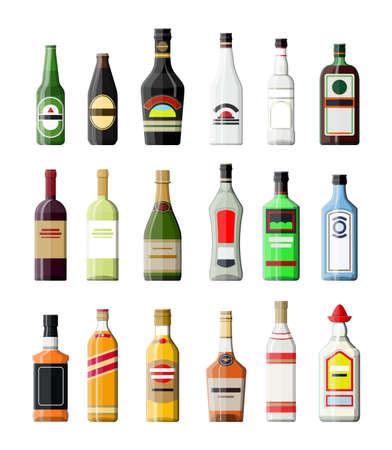 Collezione di bevande alcoliche. Bottiglie con vodka champagne vino whisky birra brandy tequila cognac liquore vermouth gin rum assenzio sambuca sidro bourbon. Illustrazione vettoriale in stile piatto.