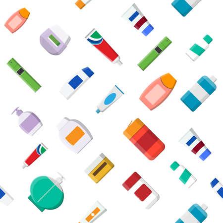 Seamless pattern of various cosmetic bottles