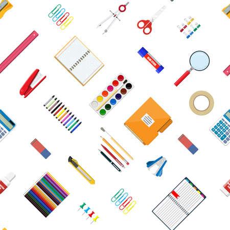 Seamless pattern stationery set. Book, notebook, ruler, knife, folder, pencil, pen, calculator, scissors, paint tape file Office supply school Office education equipment Vector illustration flat style