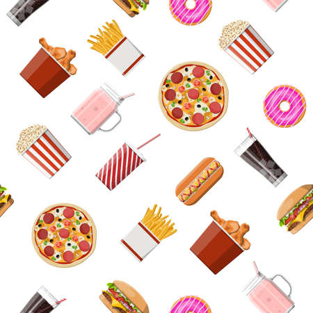 Fast food set seamless pattern. Burger pizza, hotdog, fried chicken, fries, popcorn, donut, milk cocktail cola soda, ice cream, paper glass. Fastfood. Vector illustration in flat style