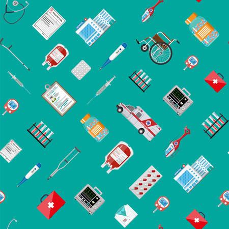 Big medical set seamless pattern Illustration