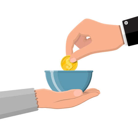 Hand giving gold coin to beggar hand. Charity, donation, help and aid concept. Vector illustration in flat style Illustration
