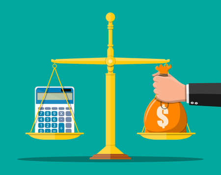 Money balance concept. Hand with money bag, calculator, scales. Financial reports statement and documents. Accounting, bookkeeping, debit and credit calculations. Vector illustration in flat style
