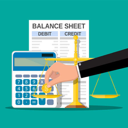 Balance sheet with calculator, coin, scales