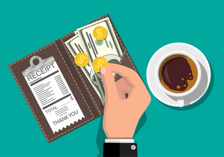 Folder with cash coins, cashier check. Coffee cup