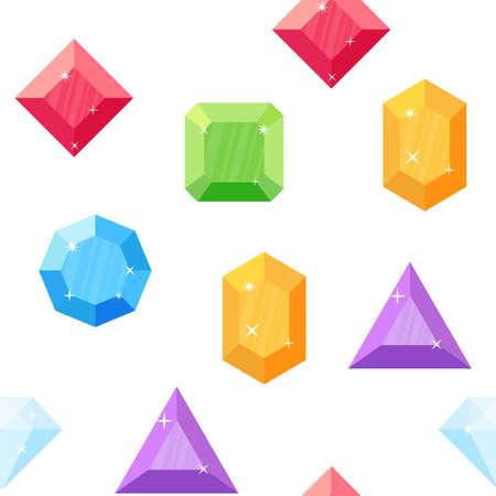 Diamonds in various shapes. Seamless pattern. Illustration