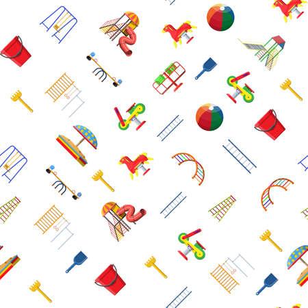 Kids playground kindergarten seamless pattern.