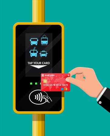 Terminal and bank card in hand. Airport, metro, bus, subway ticket terminal validator. Wireless, contactless or cashless payments, rfid nfc. Vector illustration in flat style Illustration