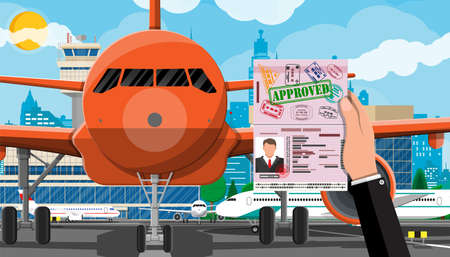 Plane before takeoff Stock Vector - 118860196
