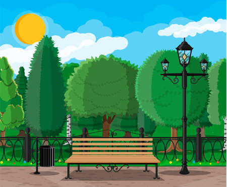 City park concept, wooden bench, street lamp, waste bin in square and trees. Sky with clouds and sun. Leisure time in summer city park. Vector illustration in flat style