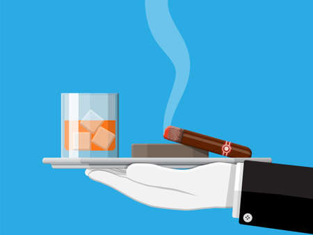 Glass of whiskey with cigar and ashtray in hand.