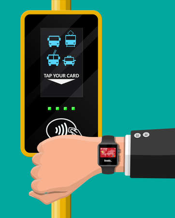Hand with smartwatch and bank card near terminal. Airport, metro, bus, subway ticket validator. Wireless contactless cashless payments, rfid nfc. Flat vector illustration Illustration
