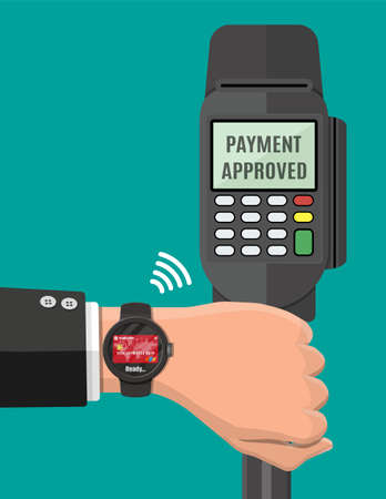 Smart watch contactless payments. Stock Vector - 119741569