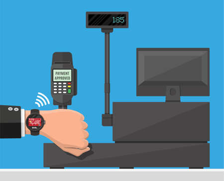 Smart watch contactless payments. Smartwatch on hand and POS terminal. Wireless, contactless or cashless payments, rfid nfc. Vector illustration in flat style Ilustración de vector