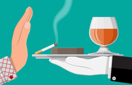 Alcohol and tobaccco abuse concept Illustration