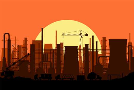 Paysage panoramique de silhouette industrielle. Fumer des pipes d'usine. Tuyaux végétaux, ciel avec soleil. Émissions de dioxyde de carbone. Contamination de l'environnement. Pollution de l'environnement co2. Illustration vectorielle