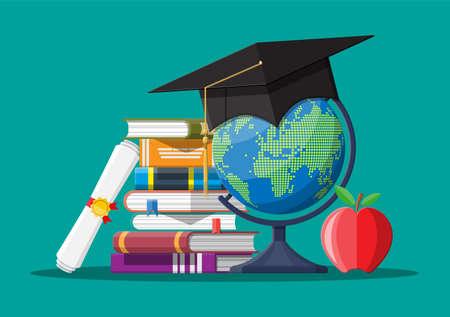 Graduation cap on stuck of books, globe and apple.