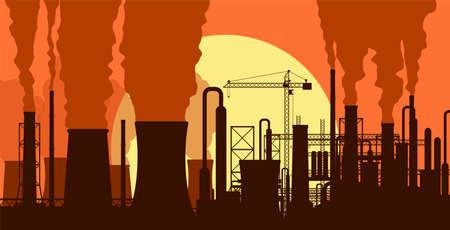 Panoramic industrial silhouette landscape. Smoking factory pipes. Plant pipes, sky with sun. Carbon dioxide emissions. Environment contamination. Pollution of environment co2. Vector illustration Stock Vector - 119133738