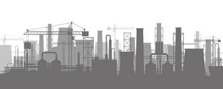 Panoramic industrial silhouette landscape. Smoking factory pipes. Plant pipes, sky with sun. Carbon dioxide emissions. Environment contamination. Pollution of environment co2. Vector illustration