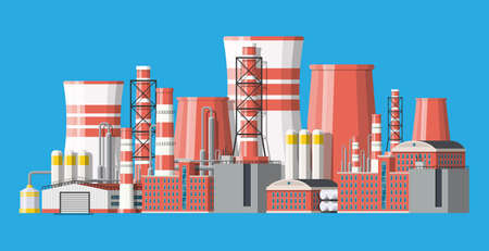 Industrial factory, power plant. Illustration