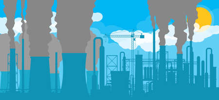 Panoramic industrial silhouette landscape. Stock Vector - 119741578